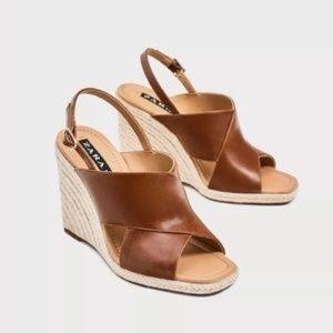 Zara Jute Crossover Wedges Size 36/US 7
